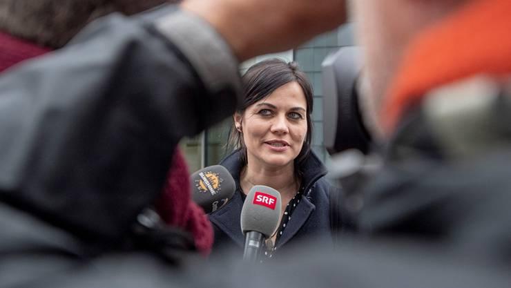 Gab nach dem Prozess am Zuger Kantonsgericht den Medien Auskunft: Jolanda Spiess-Hegglin.
