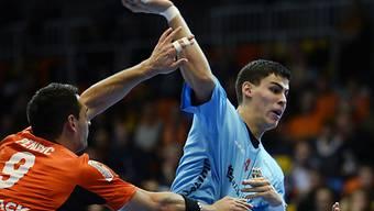 Luka Maros (rechts) avancierte für Pfadi zum Matchwinner (Archiv)