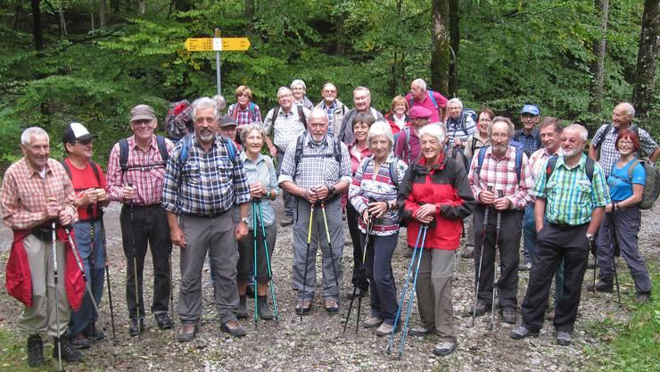 """Die Senioren der """"Chumm und mach mit""""-Wandergruppe vor dem Aufstieg zum Schnebelhorn"""