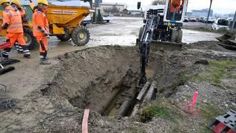 Wasserleitungsbruch an der Leuzigenstrasse in Grenchen (17. Januar 2020)