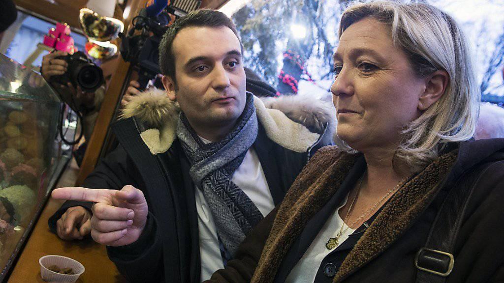 Blicken nicht mehr in die gleiche Richtung: Front-National-Chefin Marine Le Pen und ihr Stellvertreter Florian Philippot