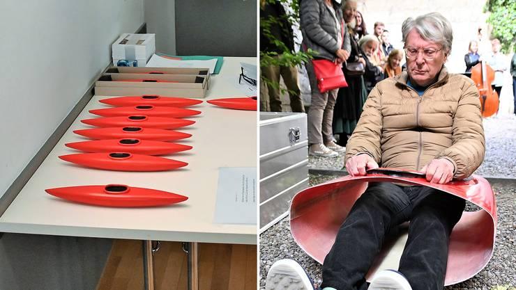 Roman Signers «Ansprache» bestand aus einer stummen Performance mit einem roten Kajak ohne Bug und Heck, in dem der Künstler «Platz nahm».