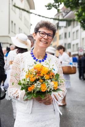 Rednerin Pascale Killias Wagen,Ref. Pfarrerin, und Seelsorgerin im Kinderspital Zürich, am Jugendfest Lenzburg, 14. Juli 2017.