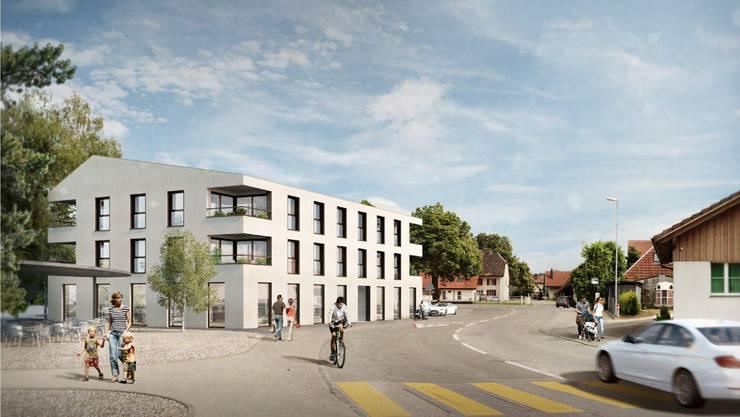 Der geplante Neubau im Dorfzentrum in Niederbuchsiten.