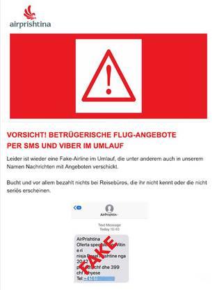 Mit diesem Mail warnt Air Prishtina vor den falschen Flugangeboten