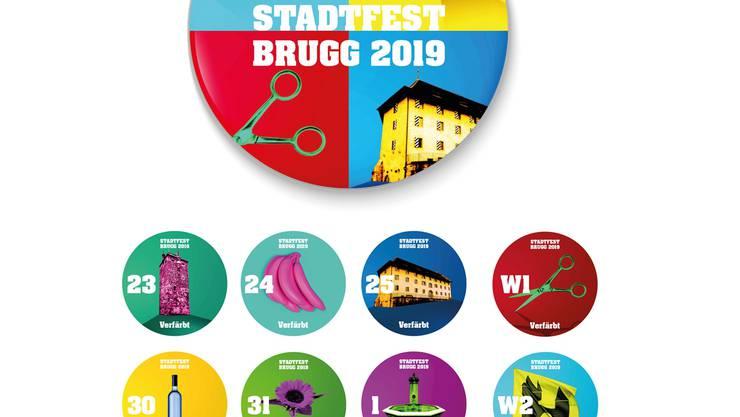 Die Ansteckbuttons fürs Stadtfest Brugg in der Übersicht.