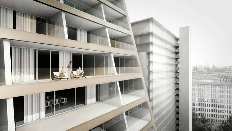 Ein Blick vom Balkon der Escher-Terrassen. (Visualisierung)