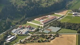 Der 119 Millionen Franken teure Gefängnisneubau in Cazis GR soll 152 Insassen Platz bieten (Visualisierung)
