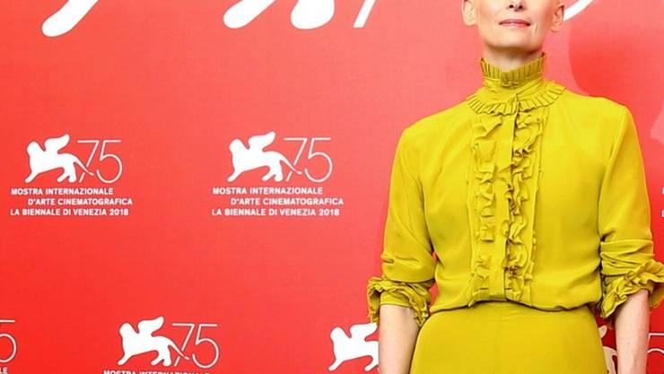 ARCHIV - US-Schauspielerin Tilda Swinton beim Filmfestival in Venedig im Jahr 2018. Foto: Joel C Ryan/Invision/AP/dpa