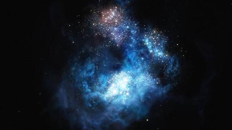 Hier wurden die allerersten Sterne entdeckt: CR7 ist die hellste Galaxie im frühen Universum (Künstlerische Darstellung)