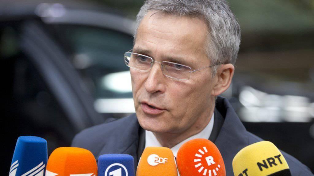 NATO-Generalsekretär Jens Stoltenberg am Dienstag vor den Medien in Brüssel.