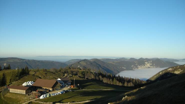 Blick auf das Bergrestaurant Althüsli. Hier wohnt die Familie Räuftlin.
