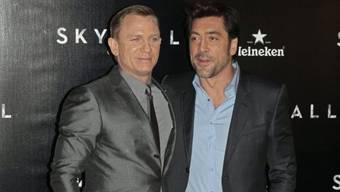 """Die beiden """"Skyfall""""-Stars Bond-Darsteller Daniel Craig (links) und Bösewicht Javier Bardem (Archiv)"""