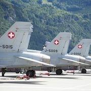 F/A-18-Kampfjets der Schweizer Luftwaffe.