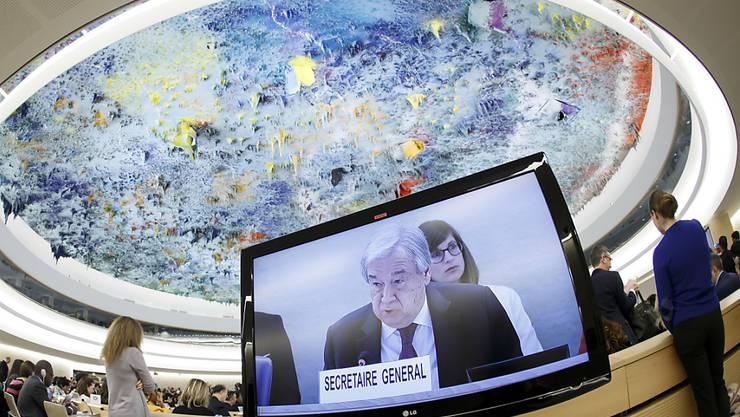 """Menschenrechte und nationale Souveränität gehen für Uno-Generalsekretär Guterres Hand in Hand. """"Der Einsatz für Menschenrechte stärkt Staaten und ihre Gesellschaften, das festigt die Souveränität"""", sagte er vor dem Uno-Menschenrechtsrat."""