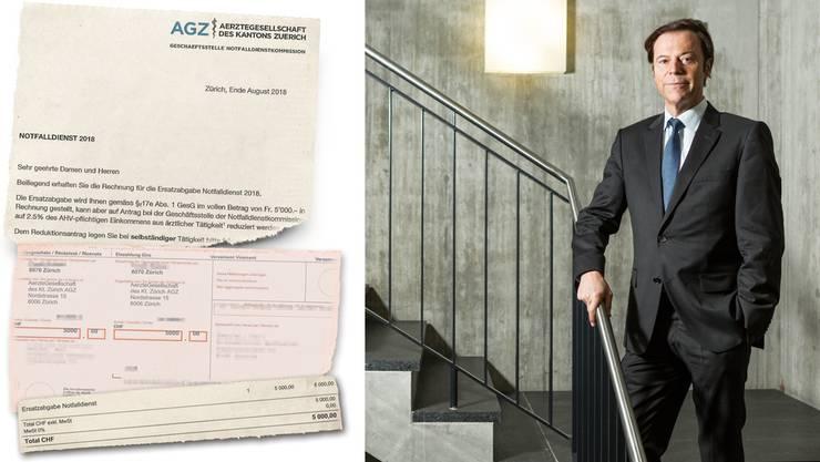So eine Rechnung erhielten diverse Personen im Kanton Zürich. Ein Arzt hat sie dieser Zeitung zur Verfügung gestellt. Auch Christoph Mörgeli war einer der Empfänger.