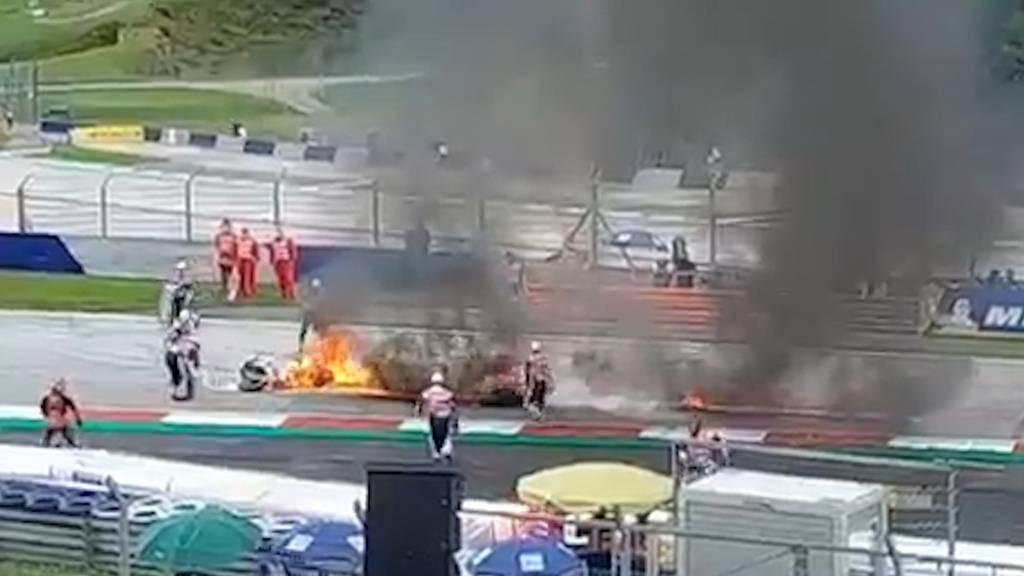 Feuer-Crash am MotoGP von Spielberg: Zwei Töffs in Flammen