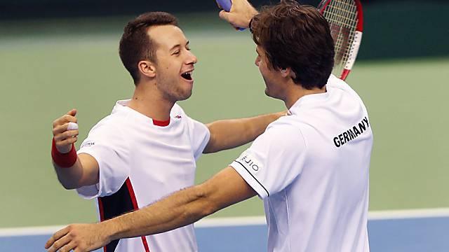 Jubel nach Sieg im Doppel: Philipp Kohlschreiber und Tommy Haas