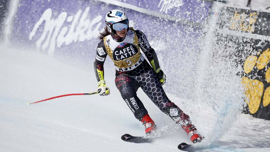 Lithuania's Tina Weirather eases up in the finish area after a training run at the women's World Cup downhill ski race Tuesday, March 14, 2017, in Aspen, Colo. (AP Photo/Brennan Linsley)