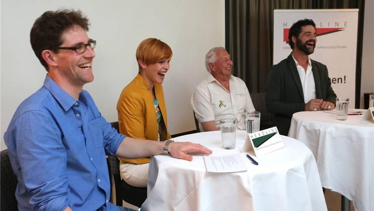 Vergnügliche Talkrunde zum Thema Wetter: V.l.:Mathias Kunz, Sandra Boner, Josef Bürgler und Rhaban Straumann. Hansruedi Aeschbacher