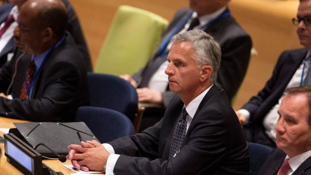 Bundesrat Didier Burkhalter rief in New York die Staaten auf, mehr für die Einhaltung der Menschenrechte und die Konfliktprävention zu tun.