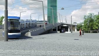 Tram fährt beim Hardplatz auf die Hardbrücke.