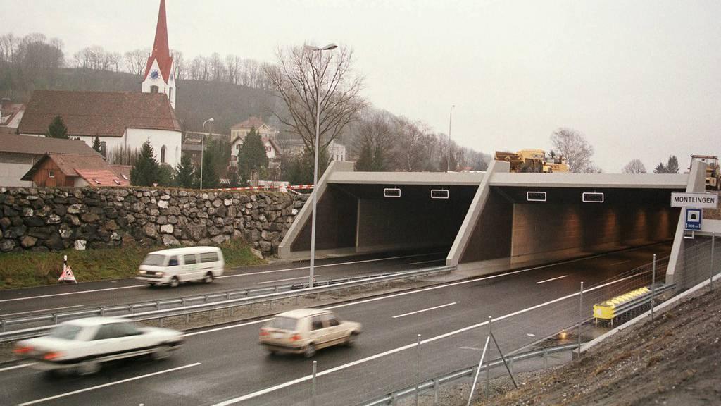 Der Tunnel bei Montlingen war Schauplatz eines tödlichen Selbstunfalls.