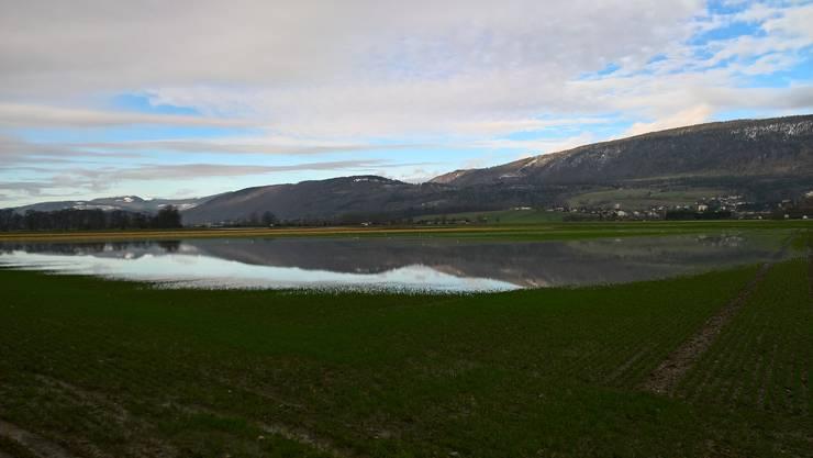 Der Jura spiegelt sich im See, der sich bei der Grenchner Kläranlage gebildet hat