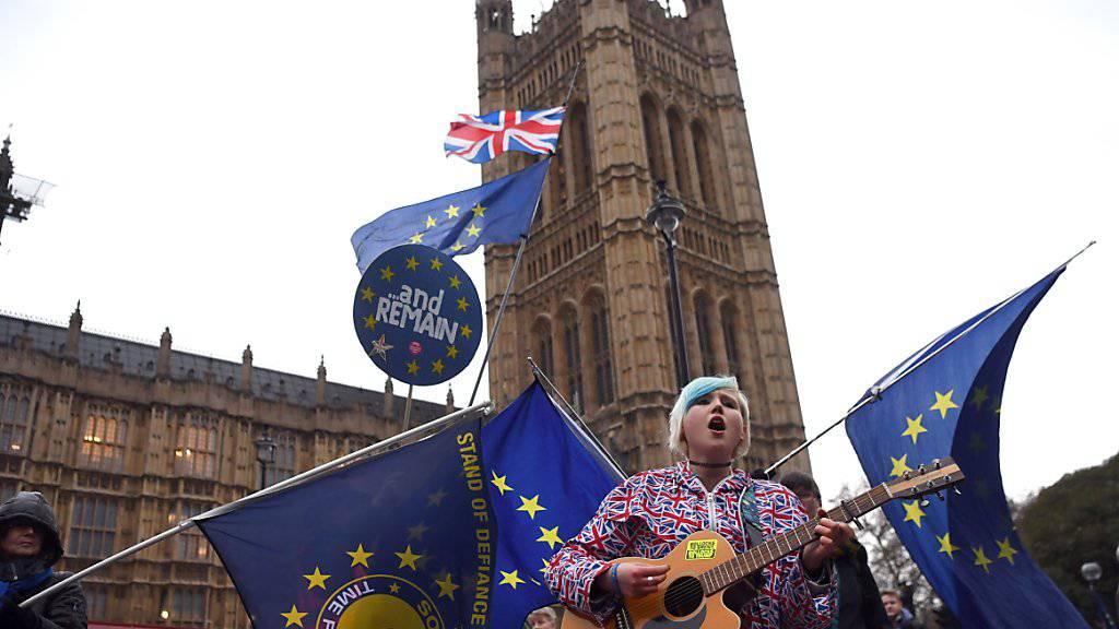 Brexit-Gegner demonstrieren am Mittwoch vor dem britischen Unterhaus in London für den Verbleib Grossbritanniens in der EU. Unterdessen debattieren die Abgeordneten über einen Misstrauensantrag gegen Premierministerin Theresa May.