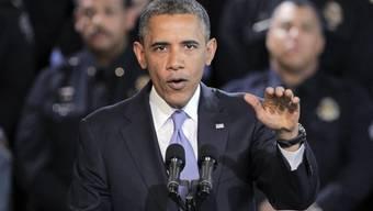 Barack Obama am Rednerpult.