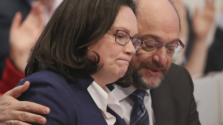 Mögliche Stabsübergabe: SPD-Chef Martin Schulz könnte am Dienstag die Parteileitung an die bisherige SPD-Fraktionschefin im Bundestag, Andrea Nahles, abgeben. (Archivbild)