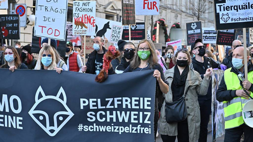 Rund 300 Personen demonstrierten am Samstag in Zürich gegen den Import von Pelz in die Schweiz.