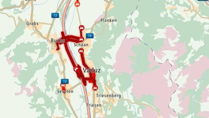 In und um Buchs und Vaduz staut sich der Verkehr.
