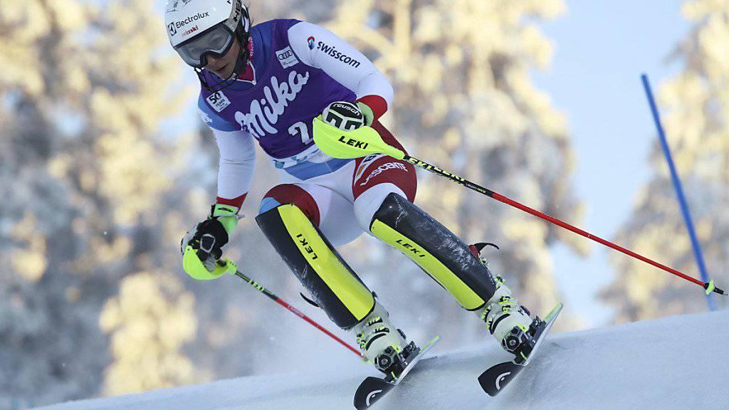 Wendy Holdener zeigt ihre Kunst am Slalomhang von Levi
