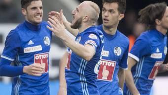 Lässt sich für das 1:0 gegen Basel feiern: Luzerns Georgier Valeriane Gvilia