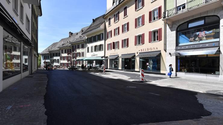 Provisorische Aspahltierung im Oberen Graben in der Oltner Altstadt.