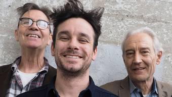 Musiker und Regisseur Ruedi Häusermann, Claude Meier und Marco Käppeli.