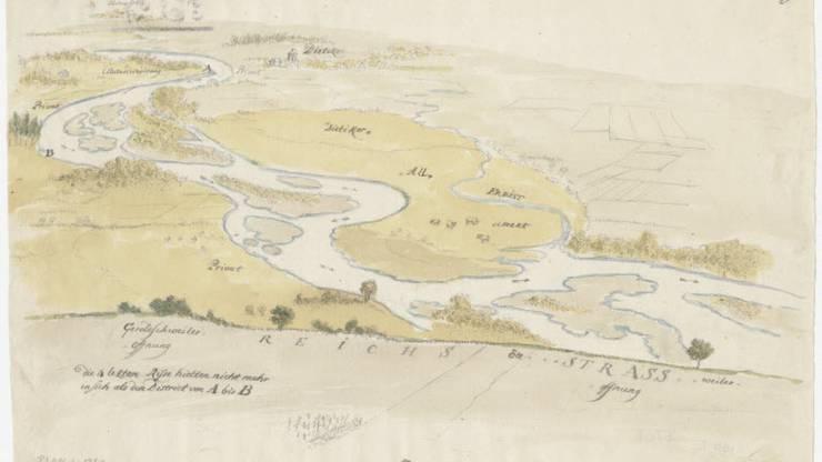 Ein Aquarell aus dem 18. Jahrhundert zeigt, wie sich die Limmat durchs dünn besiedelte Limmattal schlängelt.