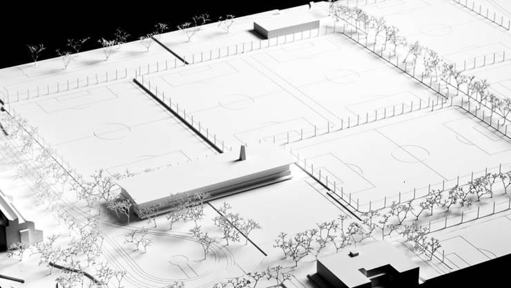 Das Modell des geplanten FCZ-Campus Heerenschürli. Der Zürcher Regierungsrat hat beschlossen, das Projekt mit 1,6 Millionen Franken zu unterstützen.