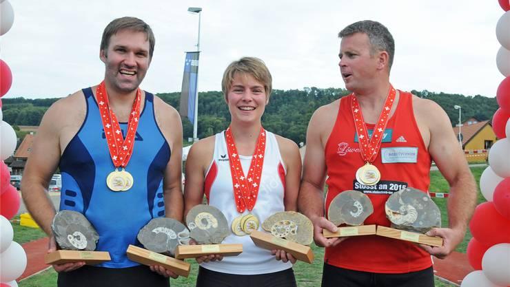 Die drei Fricktaler Hauptsieger Urs Hasler, Corina Obrist und Simon Hunziker (v.l.).