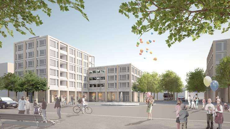 So soll sich der Neubau-Komplex vom Hotel Geroldswil aus gesehen dereinst präsentieren. (Archivbild)