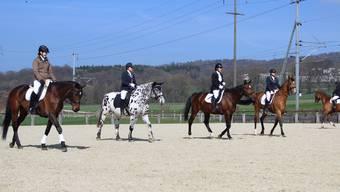 Die Reiterinnen beim Aufwärmen für das GA03, darunter Isabelle Keel auf dem Schecken Malin.