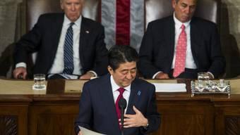 Abe hielt als erster Premier Japans eine Rede vor dem US-Kongress