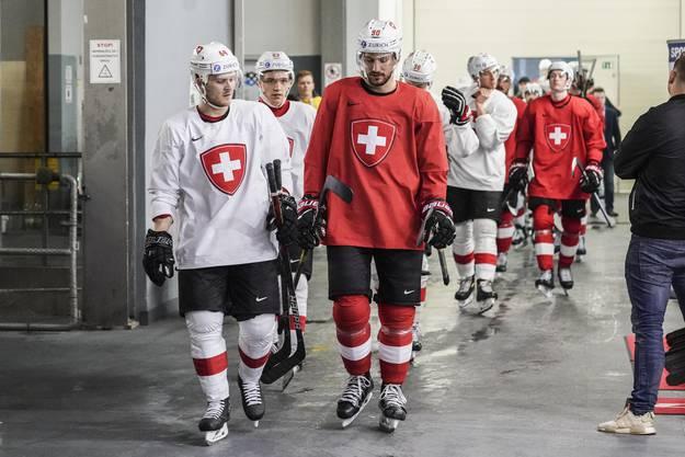 Da kommen sie, die Nationalspieler sind bereit zum Training in Bratislava.