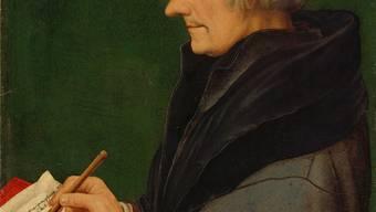 Hans Holbein d. J.: «Bildnis des schreibenden Erasmus von Rotterdam» (1523). 37,1 ×30,8 cm; Mischtechnik auf Papier, auf Tannenholz aufgeklebt. Martin P.Bühler/Kunstmuseum Basel