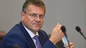 Maros Sefcovic, EU-Kommissionsvizepräsident, nimmt an einer Sitzung zum Brexit-Abkommens im EU-Hauptquartier teil. Foto: John Thys/AFP Pool/AP/dpa