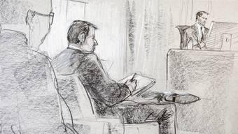 Sieht sich als Opfer: Der ehemalige Reeder Hans-Jürg Grunder. Hier in einer Zeichnung, die ihn am Prozess in Bern zeigt.