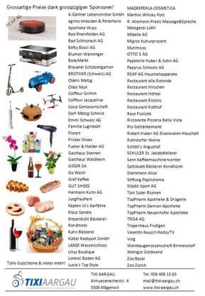 Die Liste der Sponsoren und einen kleinen Auszug der Preise.
