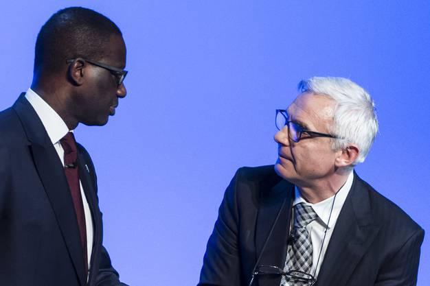 Tidjane Thiam (links) stieg 2015 aus dem US-Private-Banking aus. Hier mit Verwaltungsratspräsident Urs Rohner, der nächstes Jahr sein Amt abgibt.