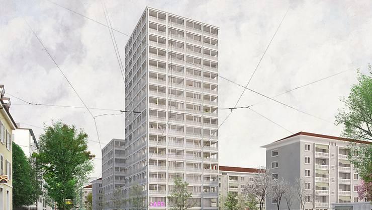 Am Rande der ehemaligen Ciba-Werksiedlung an der Basler Horburgstrasse soll ein Neubau mit 100 Wohnungen entstehen.